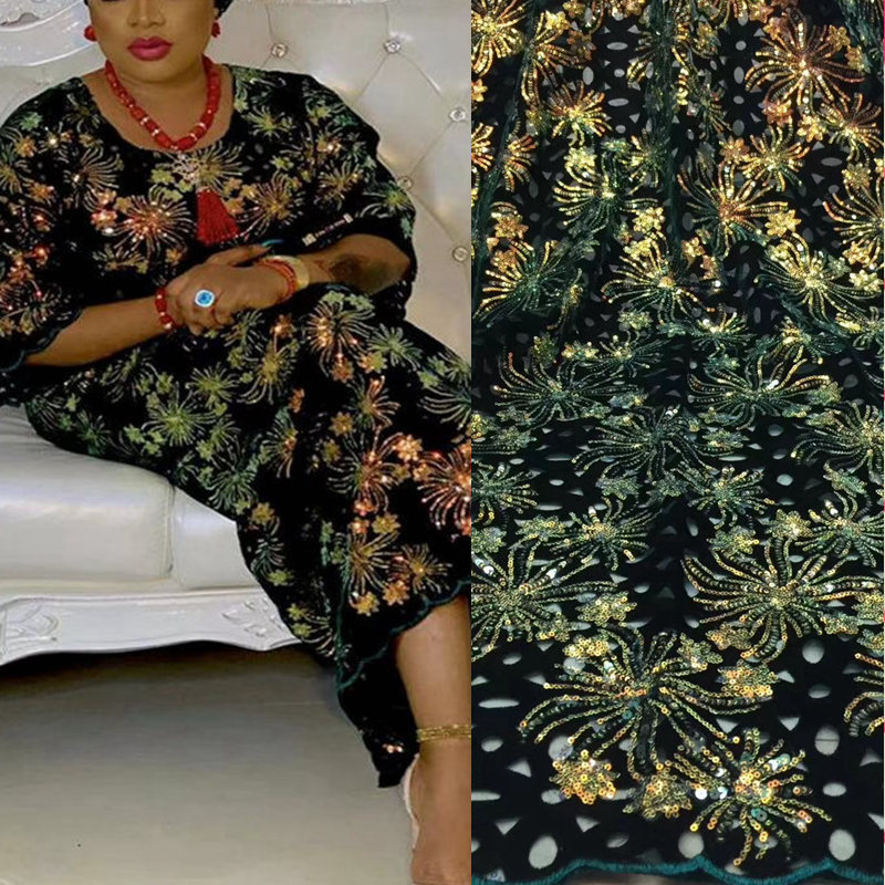Latest French Nigerian Net Lace,African Velvet Tulle Mesh Sequence Lace Fabric High Quality For Wedding Dress TS9056