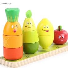 цена на Montessori Toys Educational Wooden Materials Toys for Children Early Learning Preschool Teaching Kids 3D Fruit Vegetables