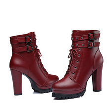 New Fashion Women Winter Boots Shoes Women Platform Boots Square Heels Round Toe Ankle Women Boots 3-28 anmairon new winter boots concise style women shoes over the knee high boots platform round toe thick heels shoes platform boots