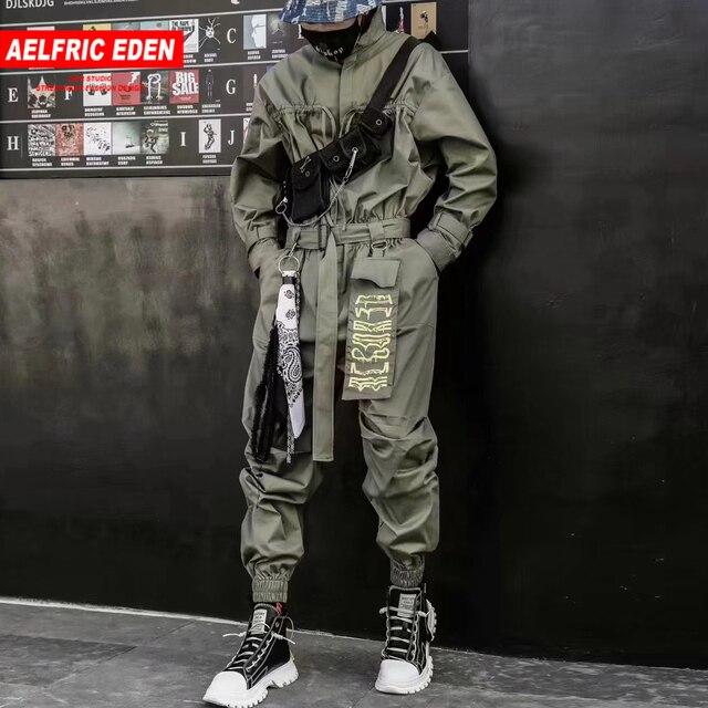 Aelfric エデン 2020 ヒップホップストリートジャンプスーツ男性リボン刺繍カーゴパンツ長袖ロンパースジョギング techwear 男性