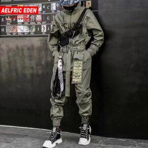 Image 1 - Aelfric Eden 2020 Hip Hop Streetwear Jumpsuits Men Ribbon Embroidered Cargo Pants Long Sleeve Rompers Joggers Techwear Men