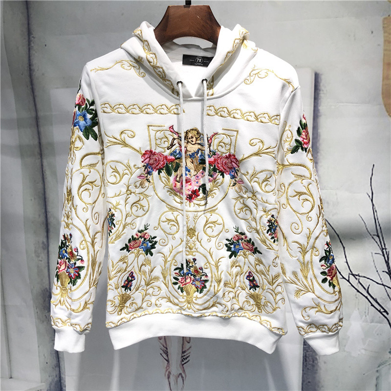 mens luxury golden embroidery flower hooded sweater/white/black hoodies/pullover 2