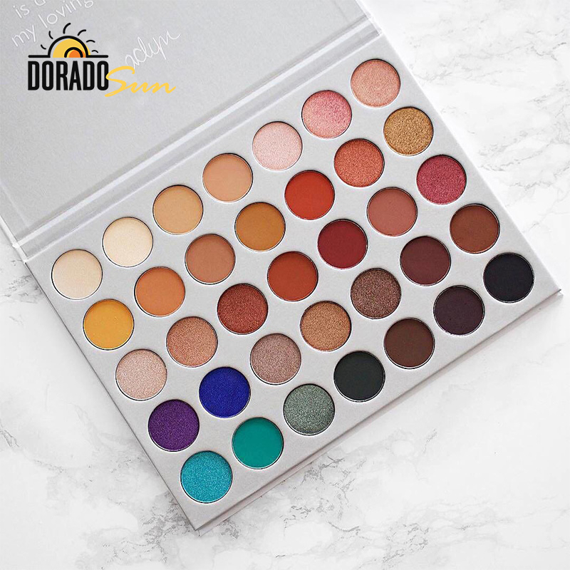 Doradosun 35 Color Eyeshadow Pallete Pearl Water-proof Hightlighters Shimmer Light Eye Shadow Long Lasting Makeup Plate