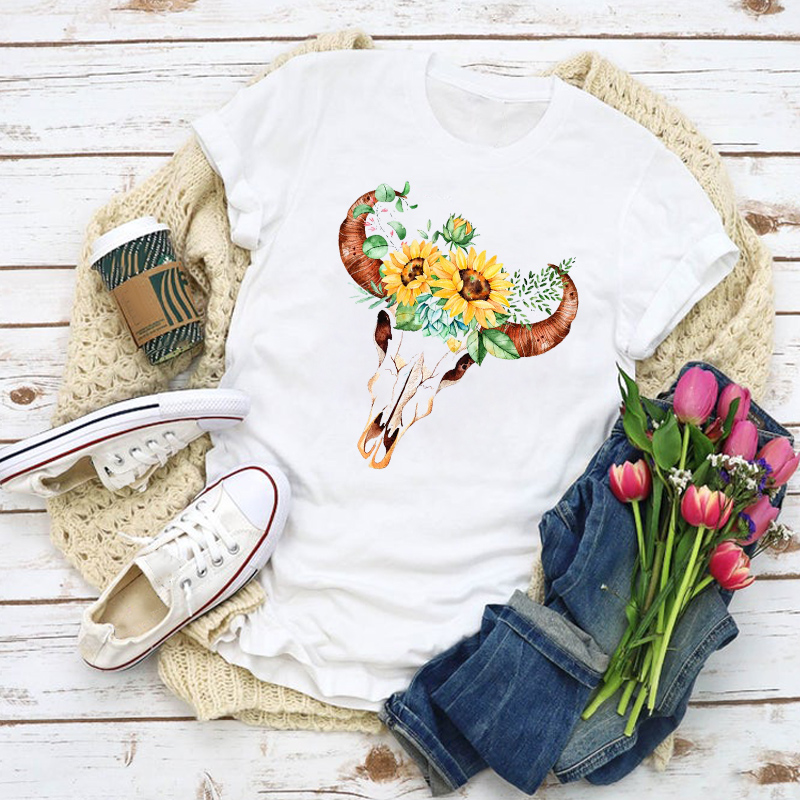 Women Graphic Floral Bull Cow Heifer Skull Sunflower Summer Shirt Tops Lady Clothes T-Shirt Womens Clothing Tee Female T Shirt