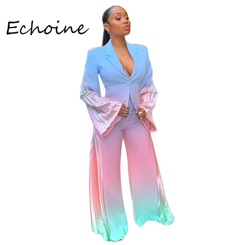 Casual Loose Tie Dye Set Long Sleeve Cardigan Coat + Long Wide Pants Two Pieces Set Office Lady Autumn Tracksuit Women