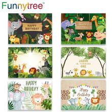 Funnytree urodziny tło do zdjęć Studio impreza w stylu Safari zwierzę z dżungli las dziecko dziecko tło Photozone Photophone