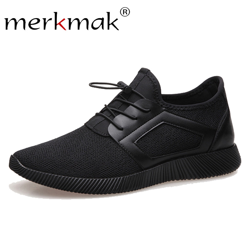 Merkmak Brand 2019 New Casual Sneakers Men Breathable Comfortable Mesh Men Shoes Fashion Elastic Band Walking Soft Footwear Flat