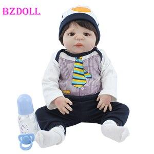 55 см мягкие силиконовые игрушки для новорожденных, милые куклы для мальчиков, реалистичные виниловые игрушки для новорожденных детей, пода...