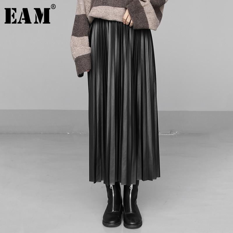 [EAM] High Elastic Waist Multicolor Pleated Brief Pu Leather Half-body Skirt Women Fashion Tide New Spring Autumn 2020 1N557