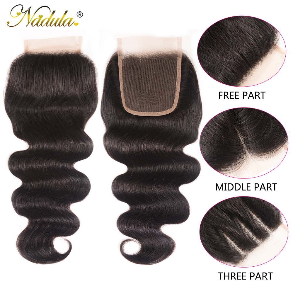 Nadula Hair 4*4 Middle /Free Part  Body Wave Hair Closure 100%   Hair Swiss Lace Closure 10-20inch 2