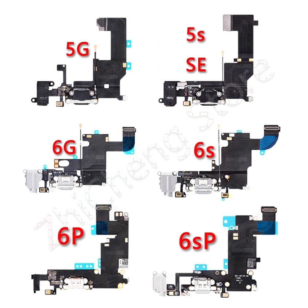 Bottom USB Charger Mic Port Dock Charging Flex Cable For IPhone 6 6s Plus 5 5S SE Dock Connector Flex Spare Ports