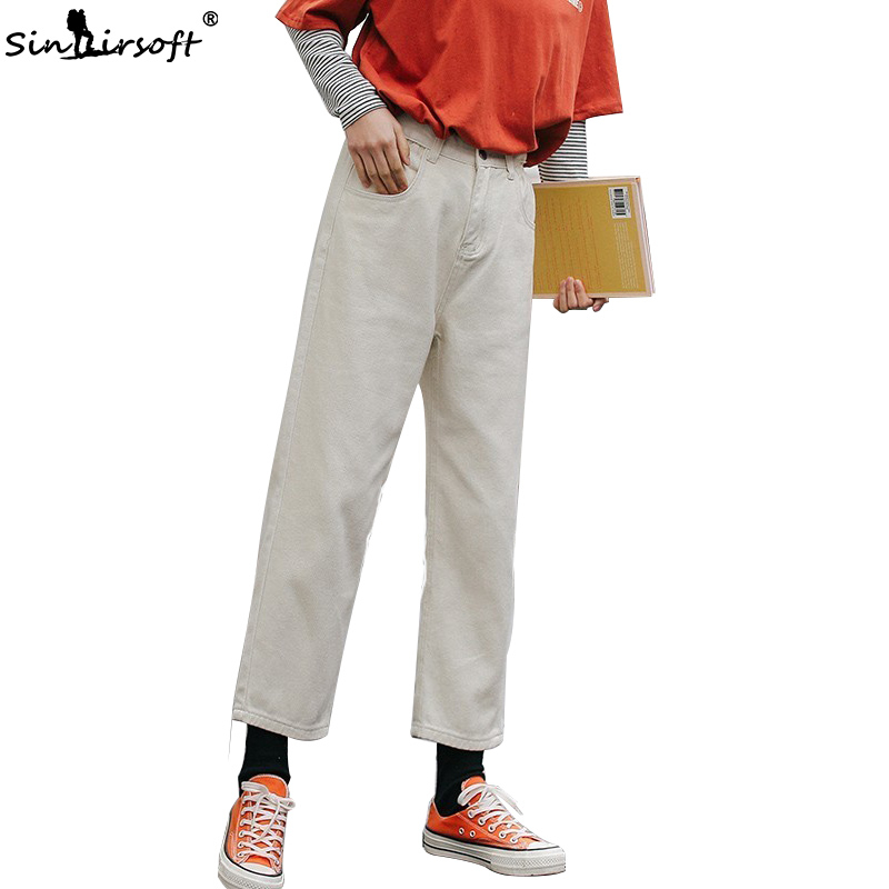 New Arrival Womens Casual Loose Straight Denim Ankle-Length Pants Streetwear High Waist Soild White Jeans Trousers Summer Hot