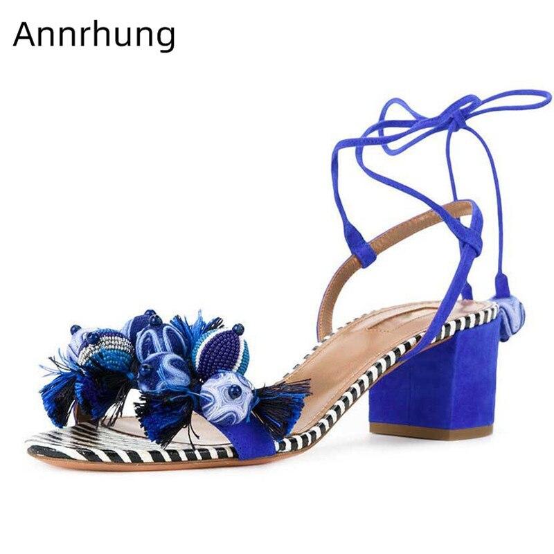 새로운 세련된 술 장식 구슬 장식 샌들 여성 오픈 발가락 chunky 뒤꿈치 여름 신발 pompoms 여성을위한 sandalias 레이스-에서중 힐부터 신발 의  그룹 1