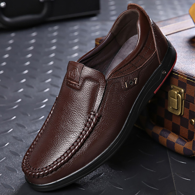 Genuine Leather Men Shoes Formal Dress Mens Shoes Casual Sturdy Sole Slip On Black Man Loafers Breathable Male Footwear