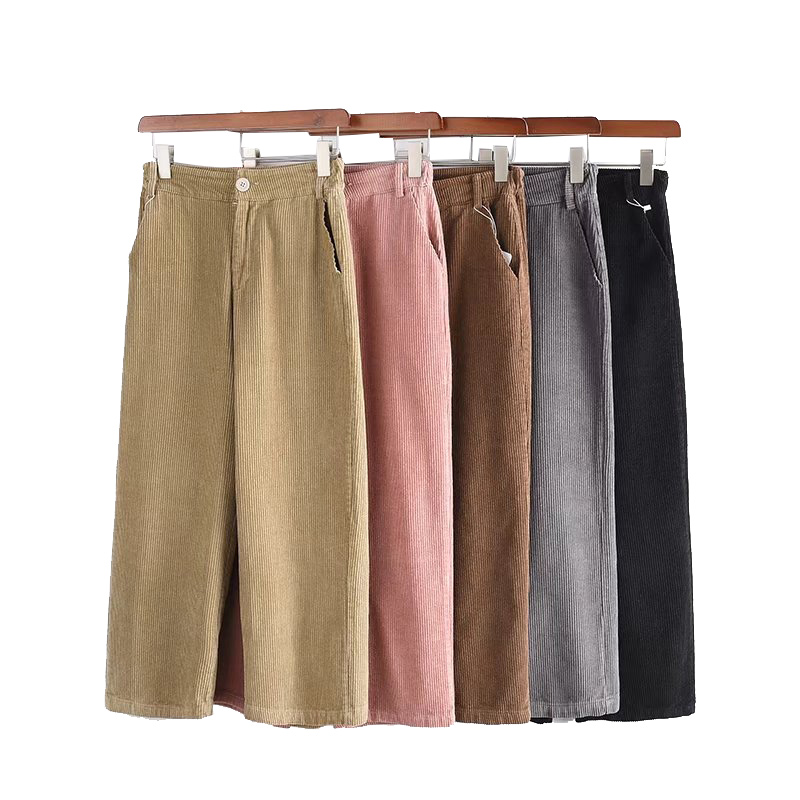New Women's   Pants   2019 Women Autumn Winter Thick Warm High Waist   Wide     Leg     Pants   Casual Loose Corduroy Cropped Trousers