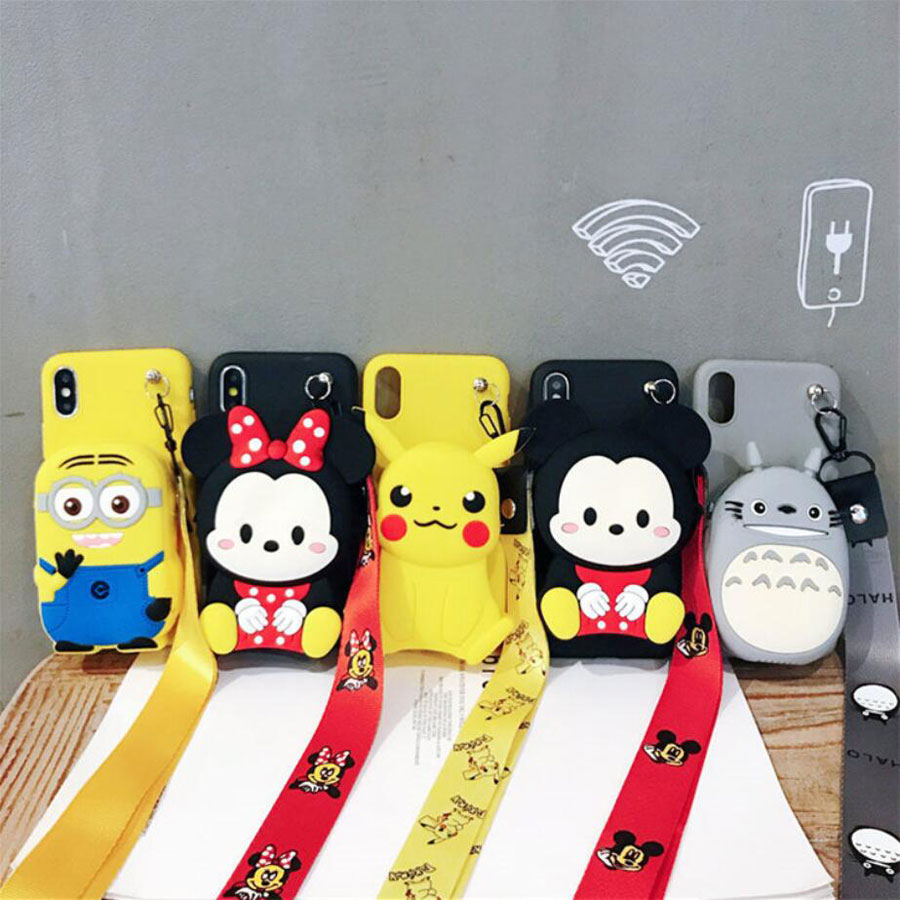 Lovely Cartoon Shoulder Bag Soft Silicone Cover Case for Apple iPhone 11 Pro XS Max X XR 6 6s 7 8 Plus Cute Doraemon Shell Case