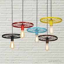 Retro Industrial Wheel Pendant Lights Vintage Bar Dining Room Kitchen Hanging Lamps Iron Art Restaurant Home Deco Light Fixtures