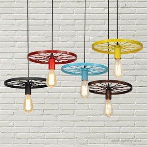 Image 1 - Retro Industrial Wheel Pendant Lights Vintage Bar Dining Room Kitchen Hanging Lamps Iron Art Restaurant Home Deco Light Fixtures