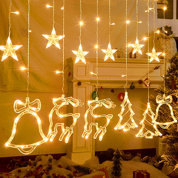 Elk Bell String Light Christmas Decorations For Home LED Curtain Garland Christmas Tree Ornaments Navidad Xmas Gifts New Year недорого