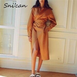 long sleeve sashes high split dress vintage autumn spring loose maxi long dress female robe femme za 2020 woman vestidos largos