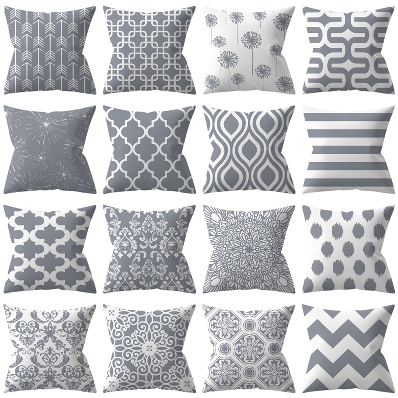 Silver-gray Series Of Peach Skin Geometric Cushion Cover Leaf Stripe Pattern Printed Sofa Car Decoration Throw Pillowcase