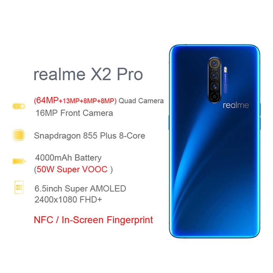 הגלובלי גרסה realme X2 פרו 8GB RAM 128GB ROM נייד טלפון Snapdragon 855 בתוספת 64MP Quad מצלמה NFC נייד 50W מהיר מטען