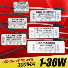Wysokiej jakości 1W 7W 15W 18W 24W 36W zasilacz stały prąd sterownik napięcia LED adapter przełącznik do lamp LED