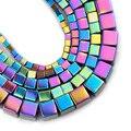 YHBZRET, разноцветный гематит, натуральный камень, квадратный куб, свободные разделительные бусины, для самостоятельного изготовления ювелирн...