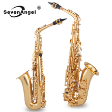 Alto Saxophone Woodwind-Instrument Sevenangel Brass with Cleaning-Brush Cloth-Gloves