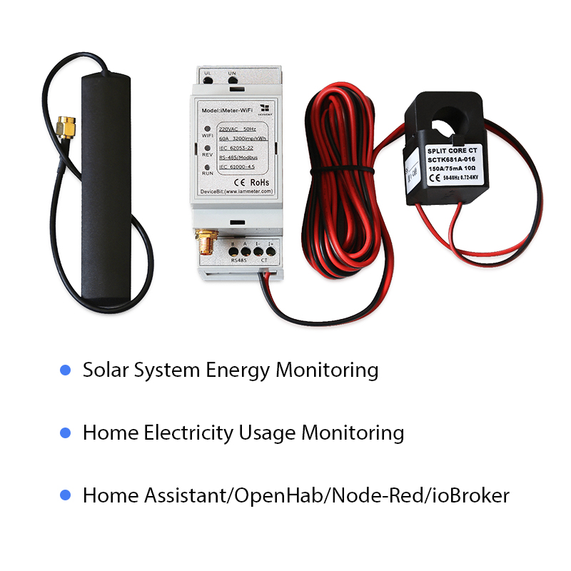 Bi-directional Single Phase WiFi Energy Meter,150A,Din Rail, Home-Assistant,openHAB,Node-RED,ioBroker,monitor Solar System