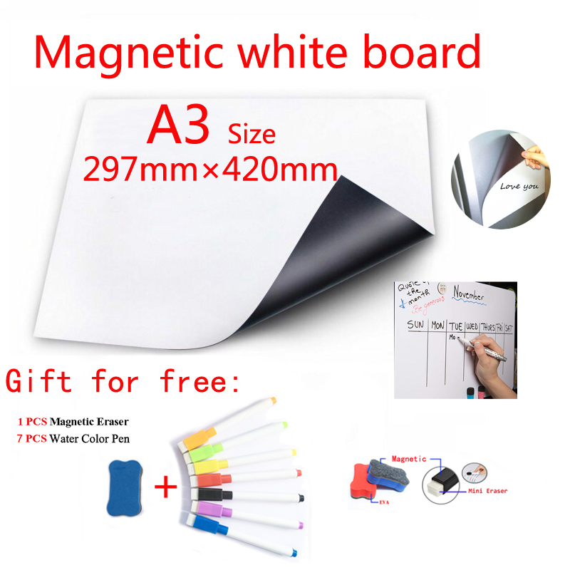 A3 Size Magnetic WhiteBoard Fridge Magnets Dry-erase Calendar Kids School Board Memo White Board Gift 7 Color Pen 1 Erasser