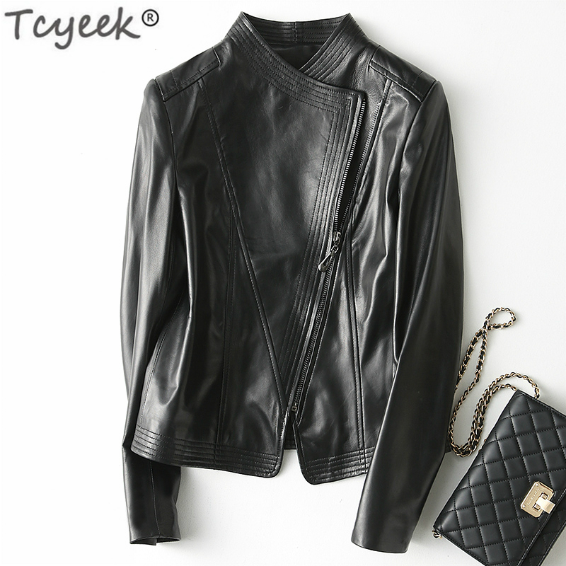 Tcyeek Genuine Leather Jacket Women Montone Jacket Real Sheepskin Coat Female Spring Autumn Slim Short Outwear Clothes LWL1448