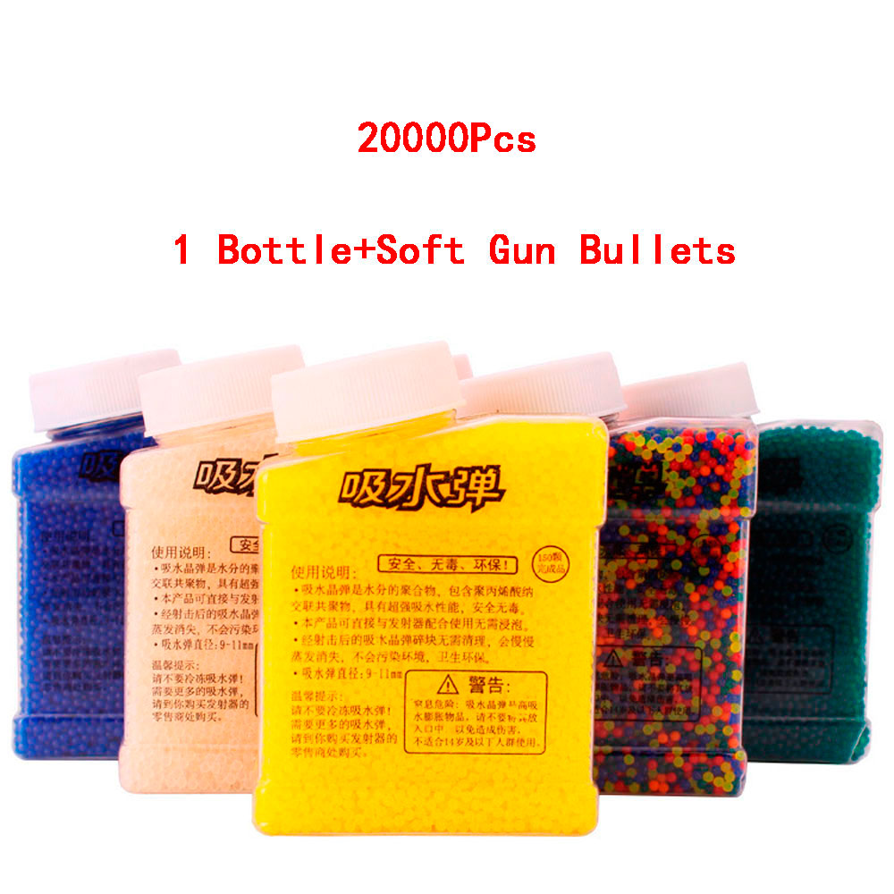 Abbyfrank Water Bullet Paintball 1 Bottle & 20000Pcs Color Soft Gun Bullet Gun Accessories Balls Crystal Mud Soil Toy