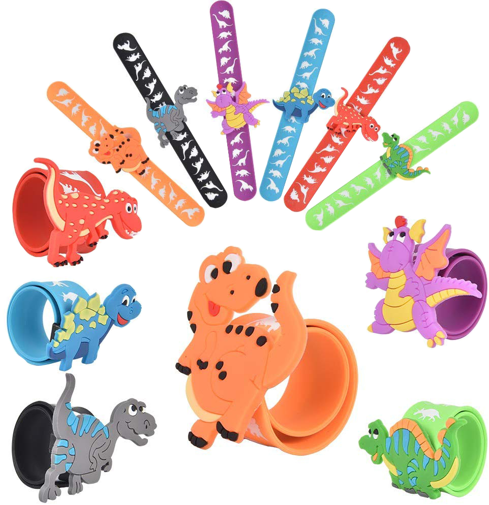 1pcs Dinosaur Party Favors Slap Bracelets Dinosaur Rings DIY Slap Bracelets Silicone Dinosaur Party Toys For Children Gift