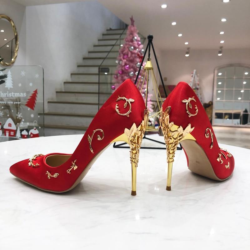 Women Pumps Spring Autumn Woman Shoes Satin Women Stiletto Metal Decor Slip On Wedding Dress Shoes Chic Metal Leaves Heels Star