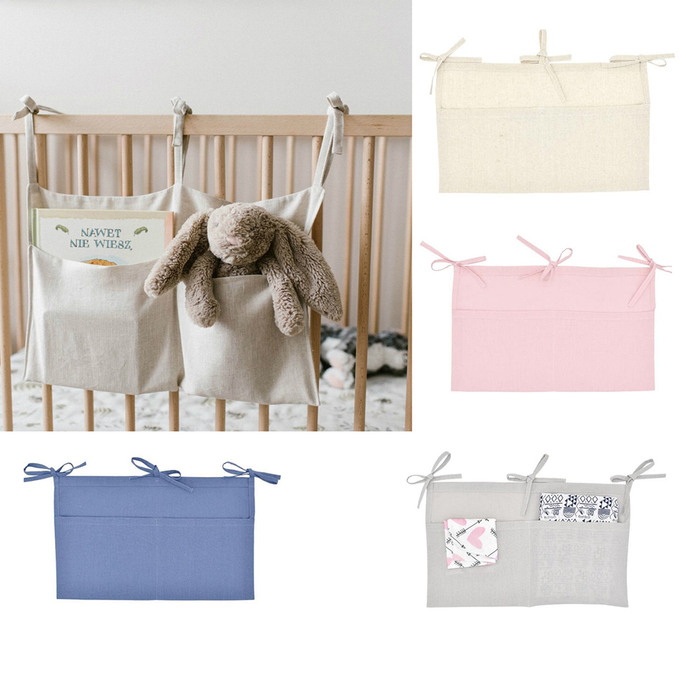 1Pcs Cotton Baby Crib Hanging Storage Bag Baby Cot Bed Brand Baby Bed Organizer Toy Diaper Pocket For Cc Bedding