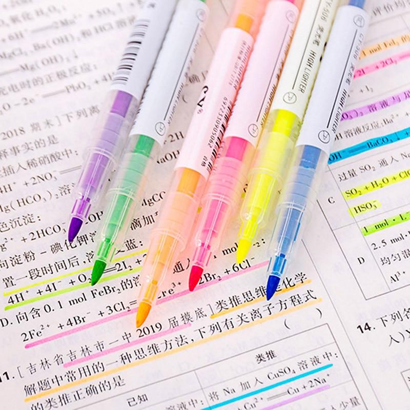 6Pcs Double-end Erasable Highlighter Pastel Liquid Chalk Marker Pen Double Head Highlighters For Kids School Office Supplies