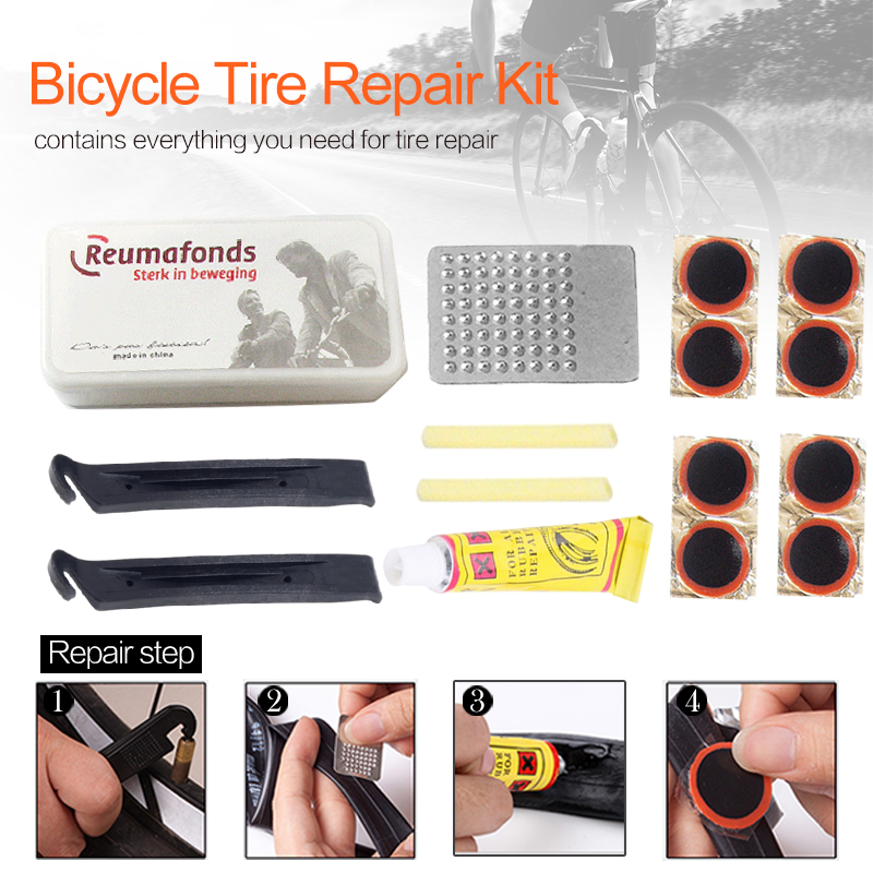 Mountain Bike Bicycle Repair Tools Cyclist Flat Tire Repair Rubber Patch Glue Multi-Purpose Outdoor Emergency Tire Repair Kit
