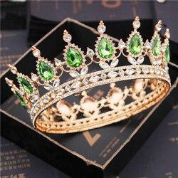 Tiaras de ouro de casamento, diadema de cabeça de cristal marrom queen king ouro para noiva madrinha acessórios de joias