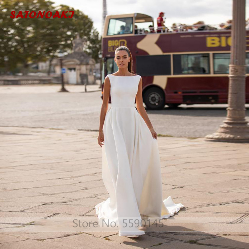 SATONOAKI Satin Wedding Dress Simple A Line Bride Dresses Sleeveless Romantic Buttons Backless Weddin Gown Vestido De Novia 2020