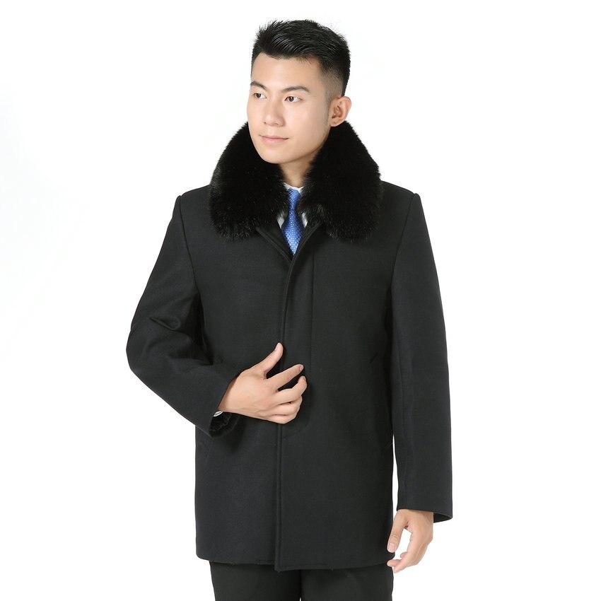Winter Wool Coat Man Brown Gray Black Thicken Woolen Blend Coats For Mature Men Collar Detachable Fur Lining Tweed Overcoat Male