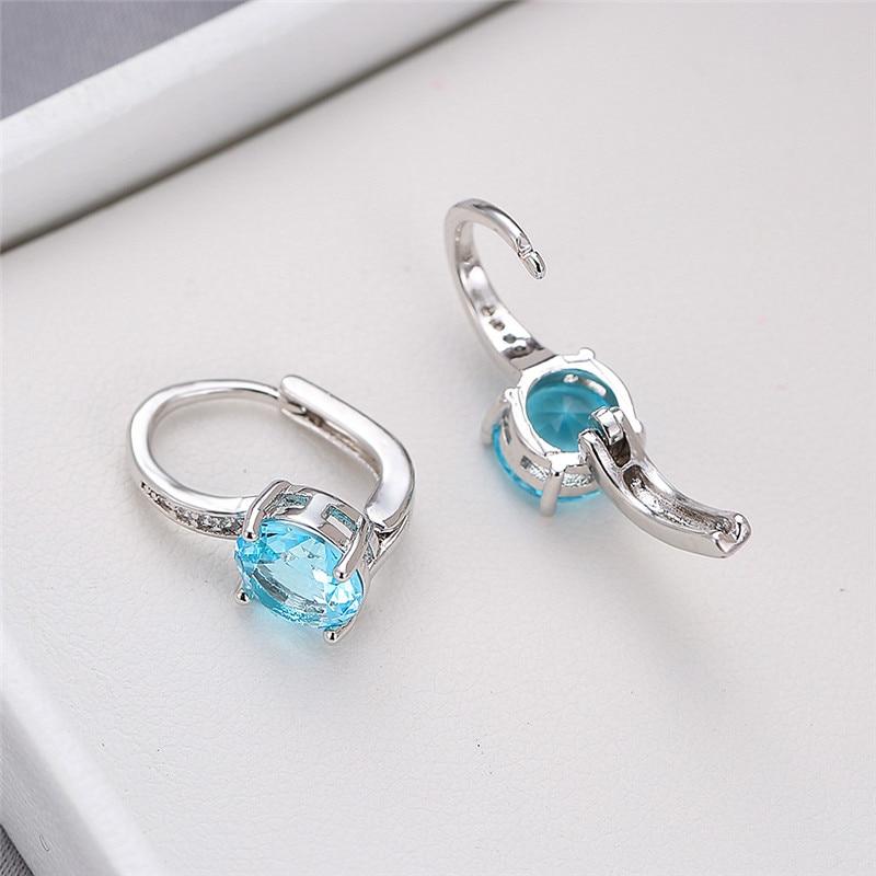 Minimalist Female Round Crystal Stone Earrings Dainty Silver Color Clip Earrings For Women Cute Aqua Blue Wedding Earrings
