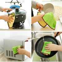 Kitchen Superfine Bamboo Fiber Double-sided Scourer Non-stick Oil Dishwashing Rag