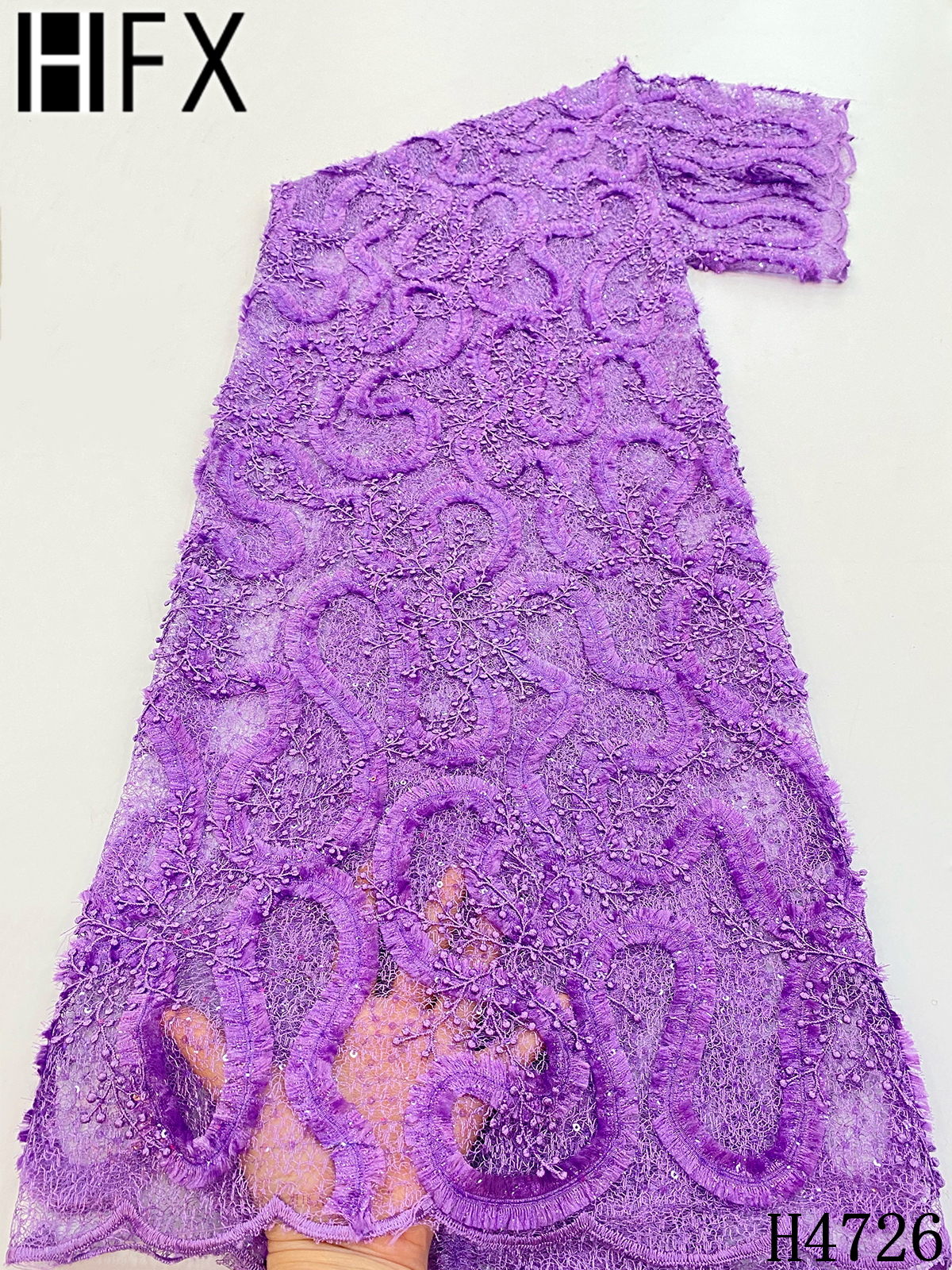 HFX Latest African Laces 2021 High Quality Tulle Mesh Lace Fabric Purple Nigerian Embroidered Bridal Lace Fabric Wedding F4726