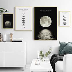 Пересечение границы Горячая продажа черный и белый простой всего лунного затмения Современная декоративная картина дома гостиная