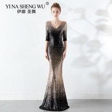 Yeni denizkızı uzun elbise yarım kollu v yaka payetli renk solmaya zarif Vestido De Festa De Gala Longo Abiye Gece Elbisesi