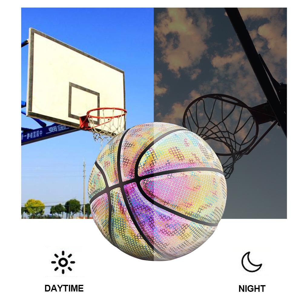 Basketball Ball Battery-Free Rainbow Reflective PU Glow Dark Basketball Fluorescent Bright Weight Size 7 Light-up Basketball