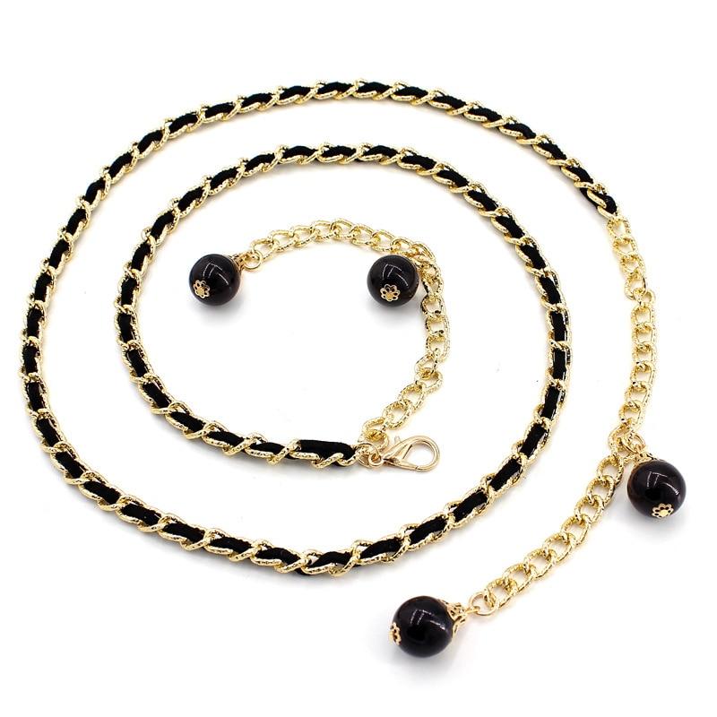 Fashion Imitation Pearl Beads Thin Waist Chain Belt Women Waistband Strap Dress Accessories 4 Colors