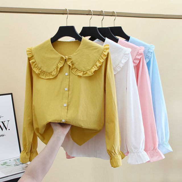 2020 New Butterfly Hollow Out Peter Pan Collar White Long Sleeve Shirt Blouse Sweet Chiffon Solid Korean Fashion Clothing K147 1