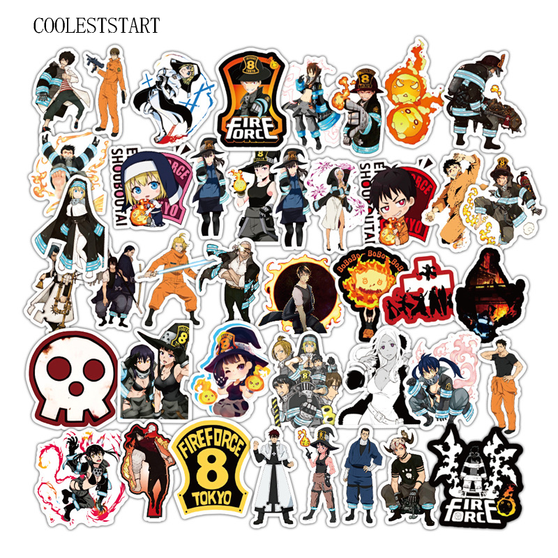 50Pcs/Lot Fire Force Graffiti Anime Stickers PVC Waterproof Sticker For Laptop Luggage Car Skateboard Notebook